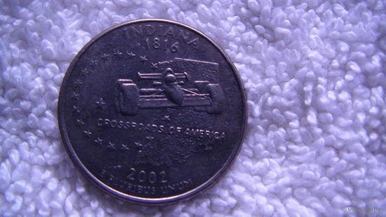 США 25 центов 2002г INDIANA   распродажа