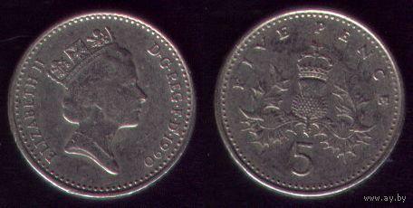 5 пенсов 1990 год Великобритания Кругловатая