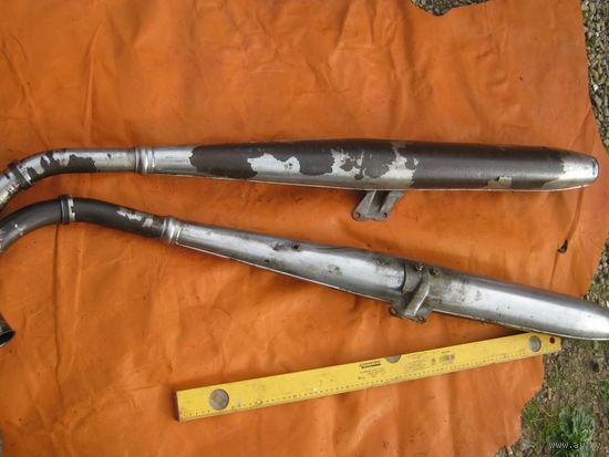 """Оригинальные глушители от """"Ява""""-350-полнейший оригинал и идеальная внутрянка.Метал весь и цел и крепок-от неправильного хранения  убежал хром."""