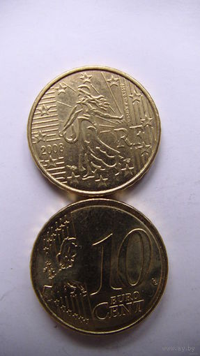 Франция 10 центов 2008г. распродажа