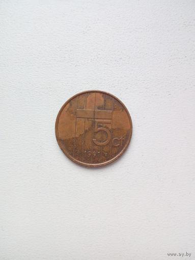 5 центов 1991г. Нидерланды