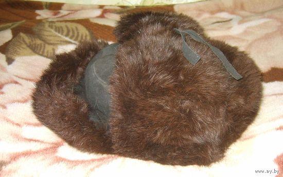 Шапка-ушанка советская из натуральной замши и меха кролика размер 58