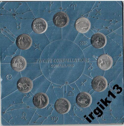 Планшет с монетами знаки Зодиака Сомали