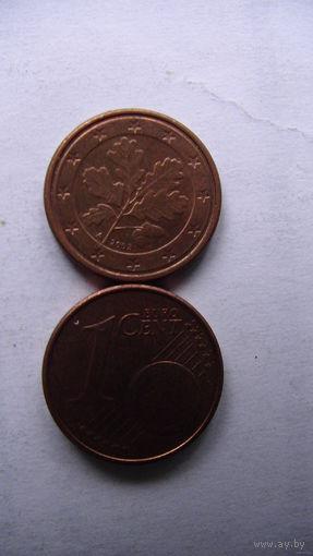 Германия 1 цент 2002г. А   распродажа