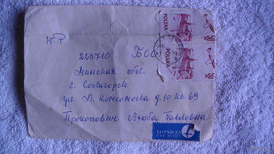 Марки на конверте (самолёты) Польша . распродажа