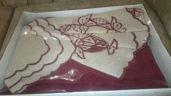 Новый набор столовый (скатерть и салфетки) лен в подарочной упаковке