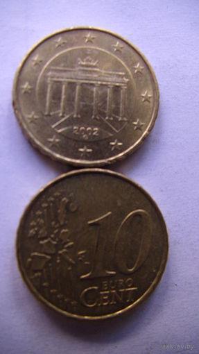 Германия 10 евро центов 2002г. D  распродажа