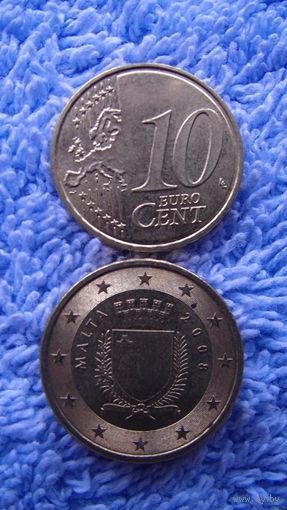 Мальта 10 евроцентов 2008г. No1 распродажа