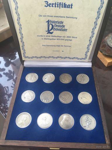 Германия, талер, набор 12 шт, серебро 925 , официальная реплика из коллекции немецких банков