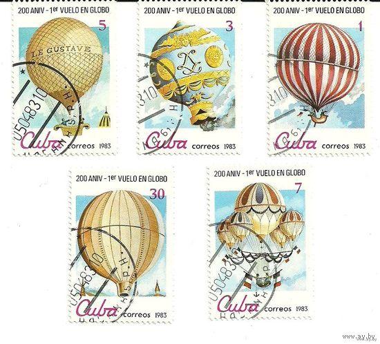 Воздушные шары. Спорт. Серия 5 марок 1983 Куба