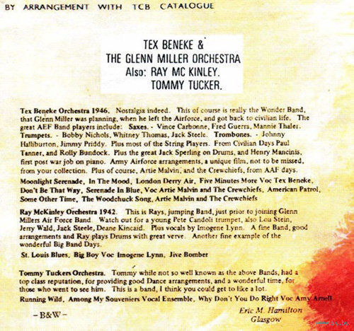 Tex Beneke and the Glenn Miller Orchestra '46, also Ray McKinley '42, Tommy Tucker ( Jazz/Swing/Big Band, DVD5)