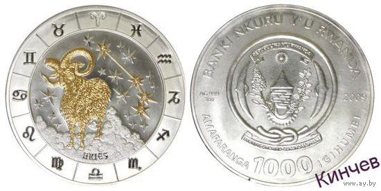 1000 франков 2009 г. Руанда- Зодиак Овен.3 унции