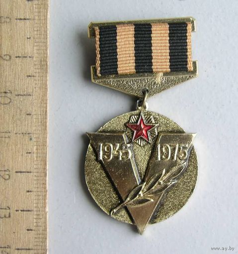 Значок 30 лет Победы 1945-1975 Советский Комитет Ветеранов Войны Памятная медаль