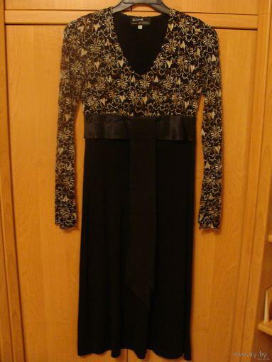 Платье женское, нарядное, р.46, кружева сверху, атласный пояс