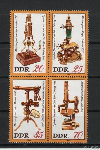 ГДР 1980г. Mi N 2534-2537** Микроскопы из музея оптики Цейса, малый блок