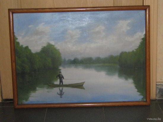 Пейзаж С Рыбаком Кадетом. Холст дублирован на картон. 63х78