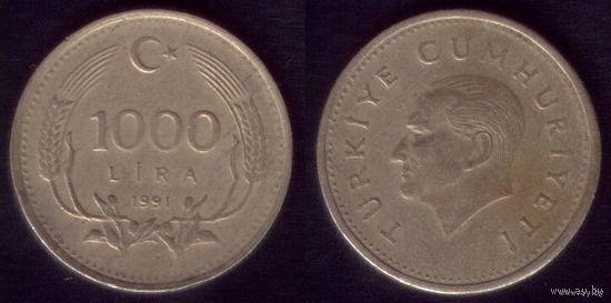 1000 лир 1991 год Турция Круглая