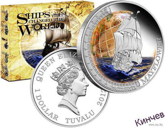 1 доллар 2012 г. Тувалу-Корабль Мейфлауэр. Серебро