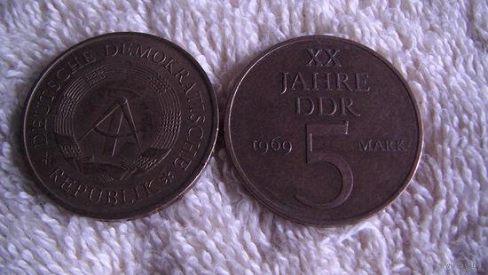 Германия (ГДР) 1969 год 5 марок. большая. распродажа