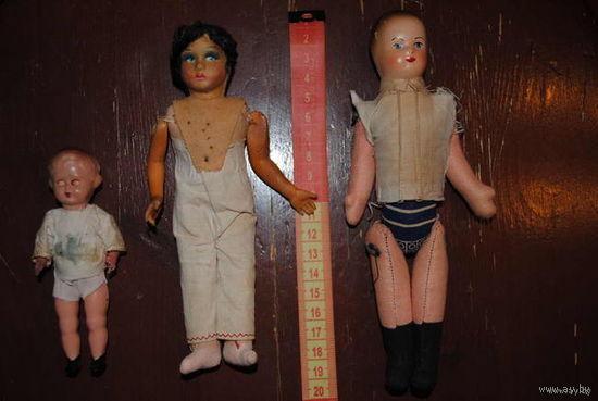 Три старинные и винтажные, коллекционные КУКЛЫ:_1920-1940_Зап.Европа_/Как на фото/_Внимание:_цена указанна за три куклы сразу_!