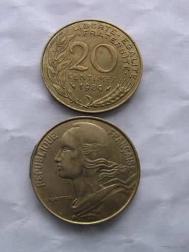 Франция 20 сентимов 1989г. распродажа