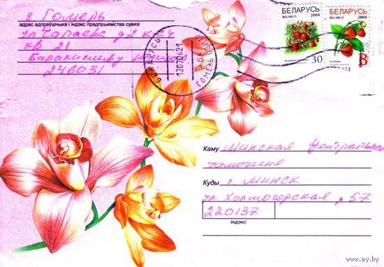 """2006. Конверт, прошедший почту """"Цветы-7"""""""