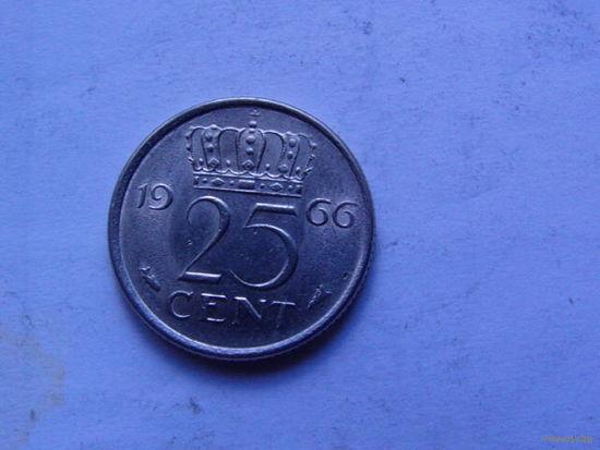 Нидерланды 25 центов 1966г.  распродажа