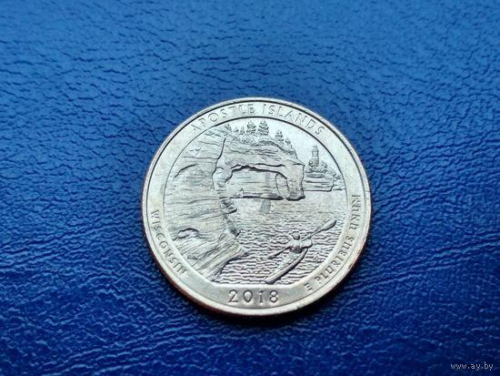 США. 25 центов (квотер, 1/4 доллара) 2018 P. Национальный озерный центр Апостольских островов.
