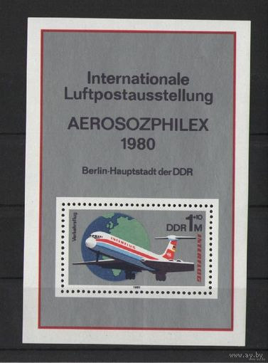 ГДР 1980г. Mi N 2520** Block N 59 Выставка Авиапочта
