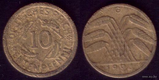 10 рентенпфеннигов 1924 год Германия