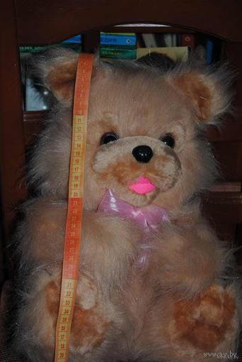 Большой, молочно-кофейный с розовым бантиком мишка/миша/мишутка - (НОВЫЙ) - игрушка отечественного производства за 40 у.е.)!