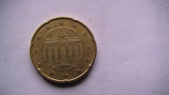 Германия 20 центов 2002г. F.  распродажа