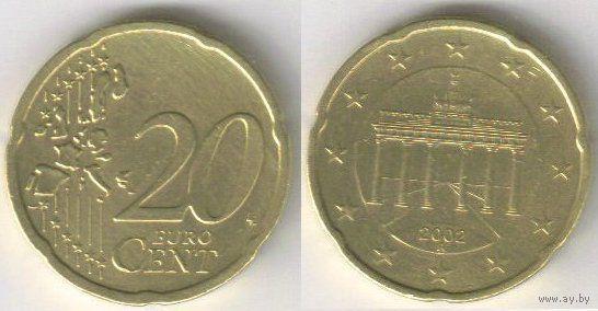 Германия. 20 евроцентов (2002, буква A)