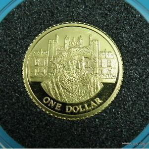 О-ва Кука 1 доллар 2006 Генрих 8, золото , Proof